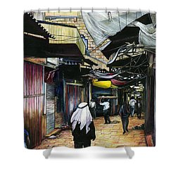 Walk Home Through Antiquity Old Jerusalem Shower Curtain by Gaye Elise Beda