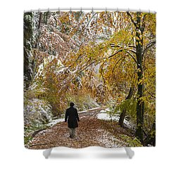 Walking Into Winter - Beautiful Autumnal Trees And The First Snow Of The Year Shower Curtain by Matthias Hauser