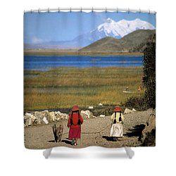Walking The Pig Shower Curtain by James Brunker