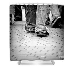Walking Through The Street Shower Curtain by Michal Bednarek
