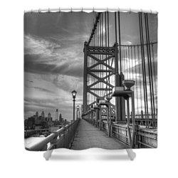 Walking To Philadelphia Shower Curtain by Jennifer Lyon