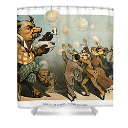 Wall Street Bubbles Always The Same Shower Curtain by Aged Pixel