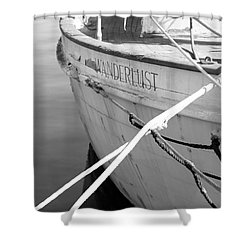 Wanderlust Black And White Shower Curtain by Amanda Barcon