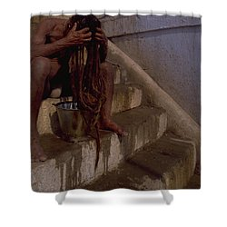 Shower Curtain featuring the photograph Varanasi Hair Wash by Travel Pics