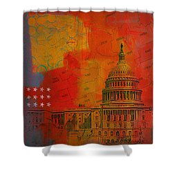 Washington City Collage Alternative Shower Curtain by Corporate Art Task Force