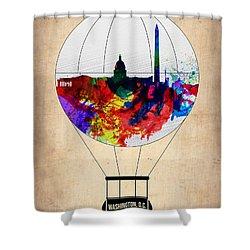 Washington D.c. Air Balloon Shower Curtain by Naxart Studio