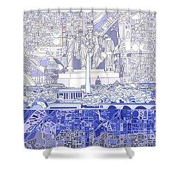 Washington Dc Skyline Abstract 3 Shower Curtain by Bekim Art