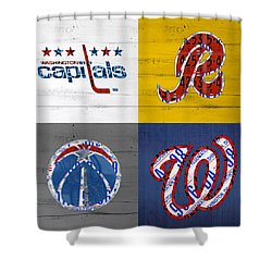 Washington Dc Sports Fan Recycled Vintage License Plate Art Capitals Redskins Wizards Nationals Shower Curtain by Design Turnpike
