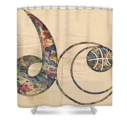 Washington Wizards Logo Vintage Shower Curtain by Florian Rodarte