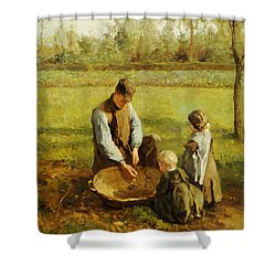 Watching Father Work Shower Curtain by Albert Neuhuys