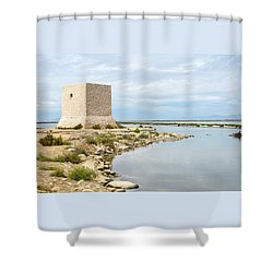 Watchtower In The Salt Lakes Shower Curtain by Tetyana Kokhanets