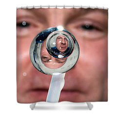 Shower Curtain featuring the photograph Water Droplet On The Iss by Science Source
