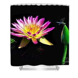 Water Lily Dragon Fly Shower Curtain by Nick Zelinsky