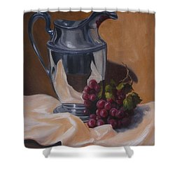 Water Pitcher With Fruit Shower Curtain by Lisa Phillips Owens