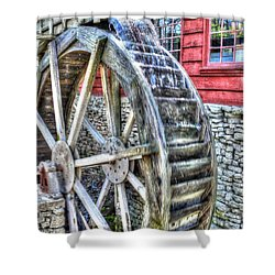 Water Wheel On Mill Shower Curtain by John Straton