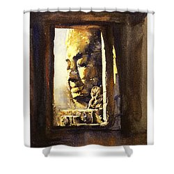 Watercolor Of Cambodian Temple Shower Curtain by Ryan Fox