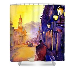 Watercolor Painting Of Street And Church Morelia Mexico Shower Curtain by Ryan Fox
