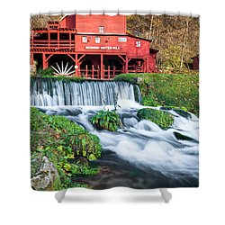 Waterfall And Hodgson Mill - Missouri Shower Curtain by Gregory Ballos