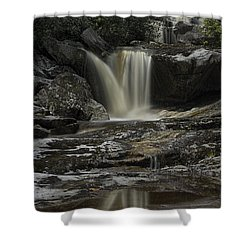 Waterfall Reflection On Big Run River  Shower Curtain by Dan Friend