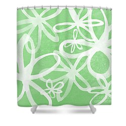 Waterflowers- Green And White Shower Curtain by Linda Woods