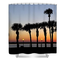 Waterfront After Dark Shower Curtain by Debra and Dave Vanderlaan