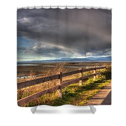 Waterfront Walkway Shower Curtain by Randy Hall