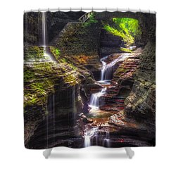 Watkins Glen Rainbow Falls Shower Curtain by Mark Papke