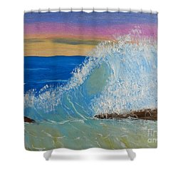 Wave At Sunrise Shower Curtain by Pamela  Meredith