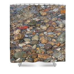Wave Over Beautiful Rocks Shower Curtain by Carol Groenen