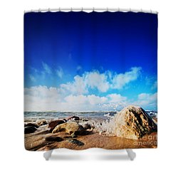 Waves Hiting Rocks On The Sunny Beach Shower Curtain by Michal Bednarek