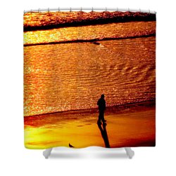 Waves Of Gold Shower Curtain by Karen Wiles