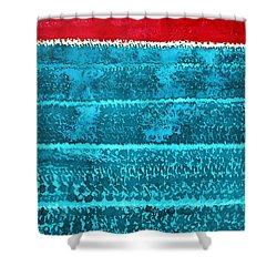 Waves Original Painting Shower Curtain by Sol Luckman