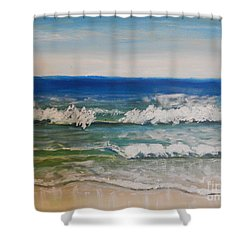 Waves Shower Curtain by Pamela  Meredith