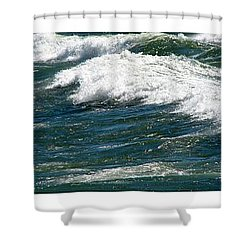 Waves Triptych Ll Shower Curtain by Michelle Calkins