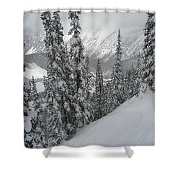 Way Up On The Mountain Shower Curtain by Kym Backland