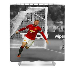 Wayne Rooney Scores Again Shower Curtain by Brian Reaves