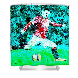 Wayne Rooney Splats Shower Curtain by Brian Reaves