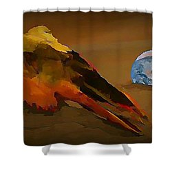 We Are But Bacteria On A Beautiful Marble  Shower Curtain by John Malone