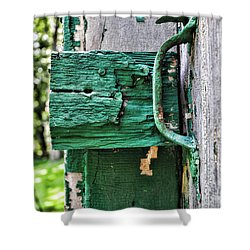 Weathered Green Paint Shower Curtain by Paul Ward