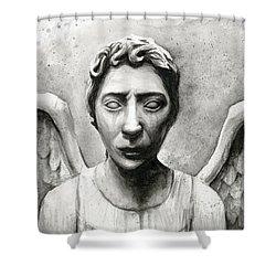 Weeping Angel Don't Blink Doctor Who Fan Art Shower Curtain by Olga Shvartsur