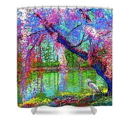 Weeping Beauty, Cherry Blossom Tree And Heron Shower Curtain by Jane Small