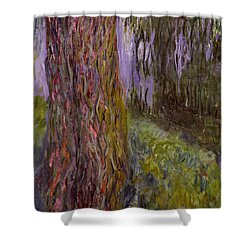 Weeping Willow And The Waterlily Pond Shower Curtain by Claude Monet