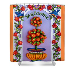 Welcome Shower Curtain by Amy Vangsgard