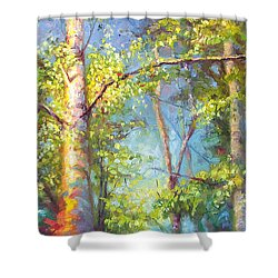 Welcome Home - Birch And Aspen Trees Shower Curtain by Talya Johnson