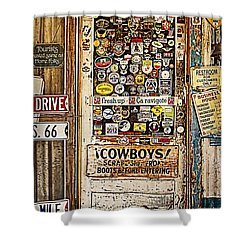 Welcome To Hackberry General Store Shower Curtain by Priscilla Burgers