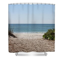 Welcome To The Beach Shower Curtain by Carol Groenen