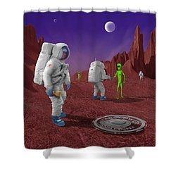 Welcome To The Future Shower Curtain by Mike McGlothlen