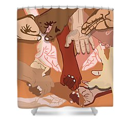 We're All In This Together Shower Curtain by Pharris Art