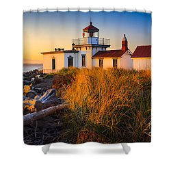 West Point Lighthouse Shower Curtain by Inge Johnsson