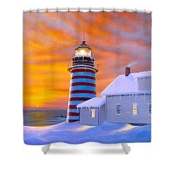 West Quoddy Shower Curtain by MGL Studio - Chris Hiett